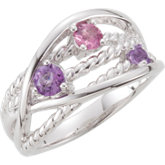 Genuine Amethyst & Pink Tourmaline Ring