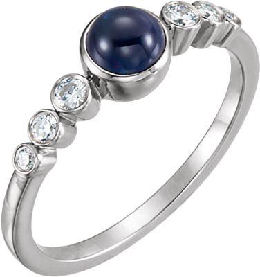 14kt White Blue Sapphire & 1/6 CTW Diamond Ring