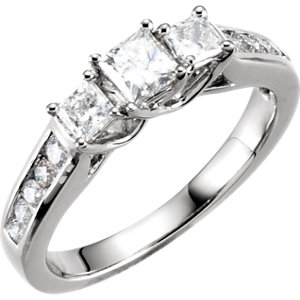 Diamond 3-Stone Engagement Ring or Band