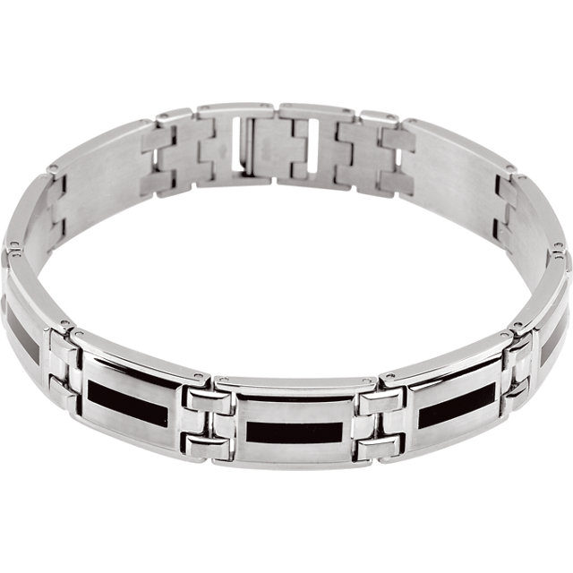 Stainless Steel & Black Enameled Bracelet