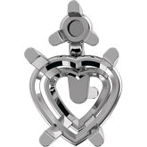 Heart 4-Prong Accented Earring Mounting