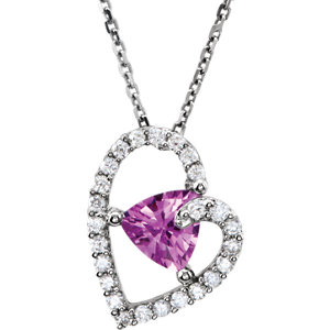 .2 CTW Pink Sapphire and Diamond Pendant Ref 650731
