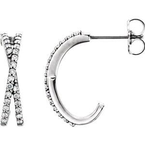 14kt White Pair 1/4 ATW<br> Diamond Ariss Aross<br> Earrings