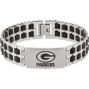 Diamond Princess Stainless Steel & Rubber Green Bay Packers Team Logo Bracelet at Sears.com