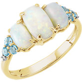 Opal, Swiss Blue Topaz & Diamond Accented 3-Stone Ring