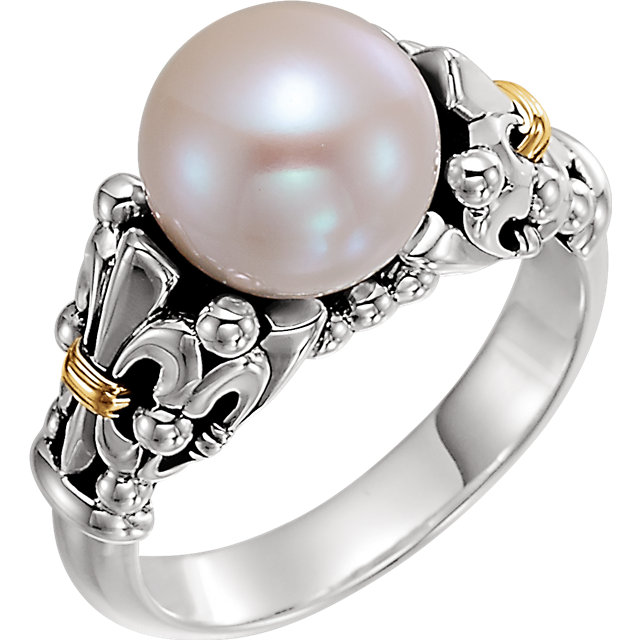 Sterling Silver & 14K Yellow Fleur-de-lis Pearl Ring
