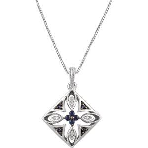 Decorative Sapphire & Diamond Necklace