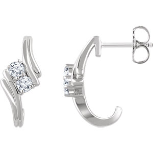 14kt White A/  ATW<br> Diamond Two-Stone<br> Earrings