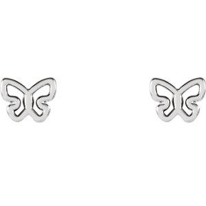 14K White Butterfly Earrings