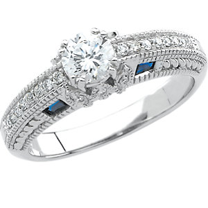 Sapphire & Diamond Engagement Ring or Semi-Mount