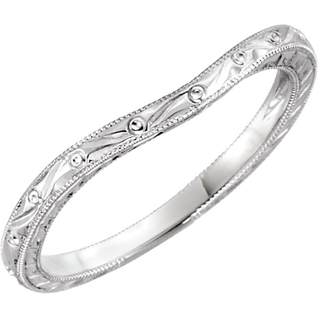 14K White Hand-Engraved Band Size 6