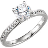 Round Accented Engagement Ring Mounting