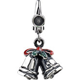 Holiday Silver Bells Charm with Enamel
