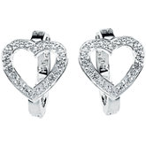 Cubic Zirconia Heart Hoop Earrings