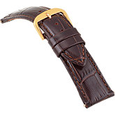 20mm Ladies Short Alligator Grain Padded Brown Watch Strap