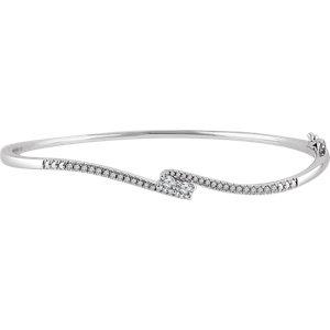 "14K White 1/3 CTW Diamond Two-Stone Accented Bangle 7"" Bracelet"