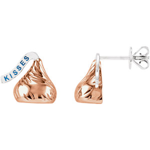 14kt Rose HERSHEYS KISSES Flat Back Stud Earrings