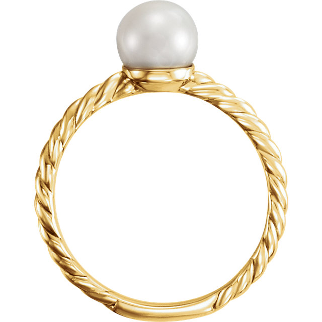 14K Yellow 7.5-8mm Freshwater Cultured Pearl Ring