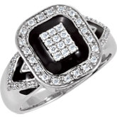 Cubic Zirconia Ring with Black Enamel