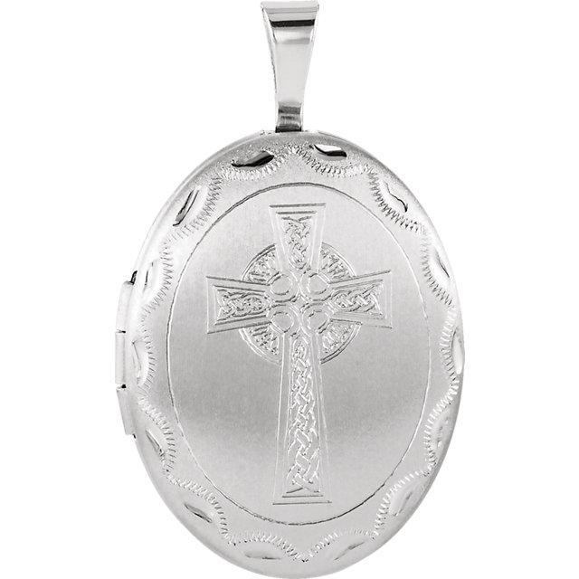 Sterling Silver Oval Celtic Cross Locket