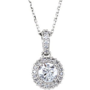 "14K White 1 CTW Diamond 18"" Necklace"