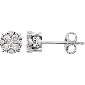 14K White 1/3 CTW Diamond Cluster Friction Post Earrings