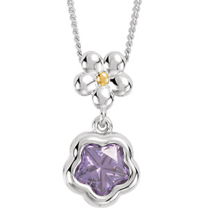 "Sterling Silver PURPLE Cubic Zirconia BFlower™ 15-17"" Necklace with Box"