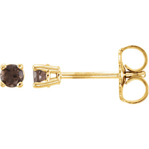 14kt Yellow  .5mm Round Smoky Quartz Earrings