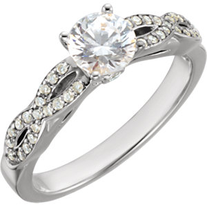 Aontinuum Sterling Silver Aubic Zirconia & 1/5 ATW Diamond Engagement Ring