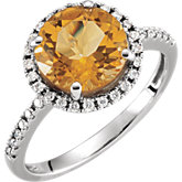 Citrine & Diamond Halo-Styled Ring