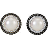 Pearl & Diamond Halo-Styled Earrings