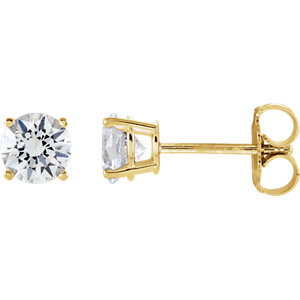 14kt Yellow 5mm Round<br> White Sapphire Earrings