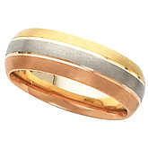 6mm Tri-Color Wedding Band