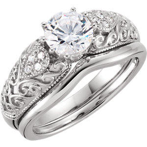 Sterling Silver Aubic Zirconia Engagement Ring