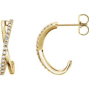 14kt Yellow 1/6 ATW<br> Diamond Ariss Aross<br> Earrings