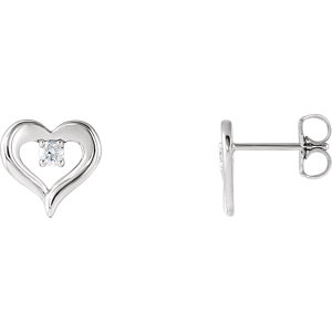 14K White 1/10 CTW Diamond Heart Stud Earrings