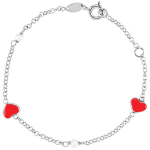 "Sterling Silver Freshwater Cultured Pearl & Red Enamel Puff Heart 5.5-6.9"" Bracelet"