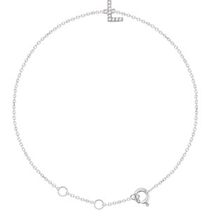 "14K White .04 CTW Diamond Initial ""L"" 6-7"" Bracelet"
