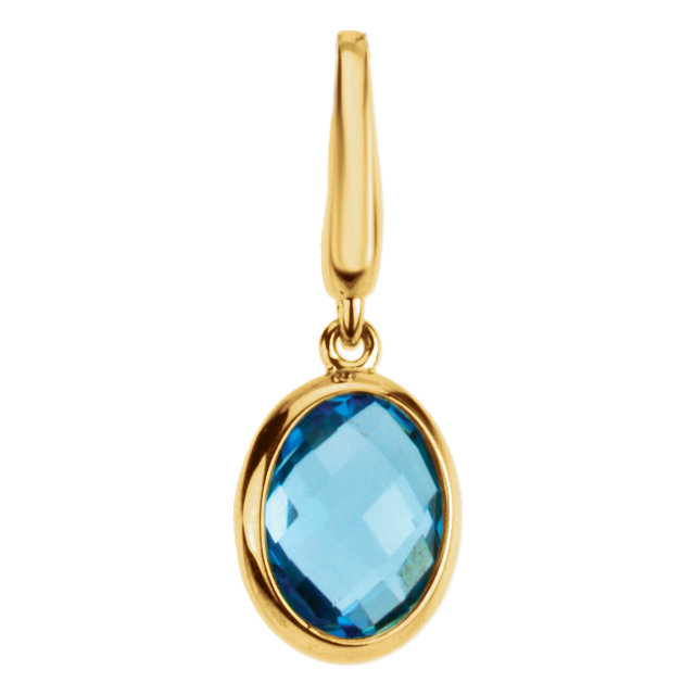 Genuine Swiss Blue Topaz Charm