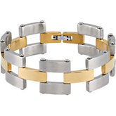 Stainless Steel Link Bracelet with Gold Immersion Plating