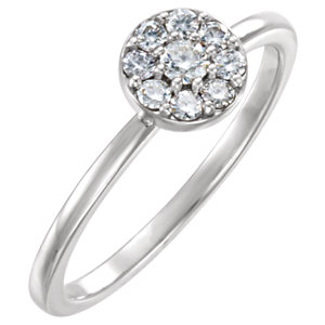 14K White 1/4 CTW Diamond Ring