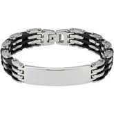 Stainless Steel Open Link Bracelet with Black Rubber