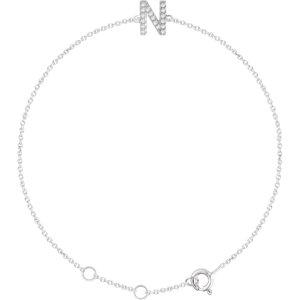 """14K White .06 CTW Diamond Initial """"N"""" 6-7"""" Bracelet"""