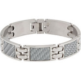 Stainless Steel Link Bracelet with Carbon Fiber