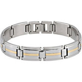 Stainless Steel Bracelet with 10KT Gold Inlay