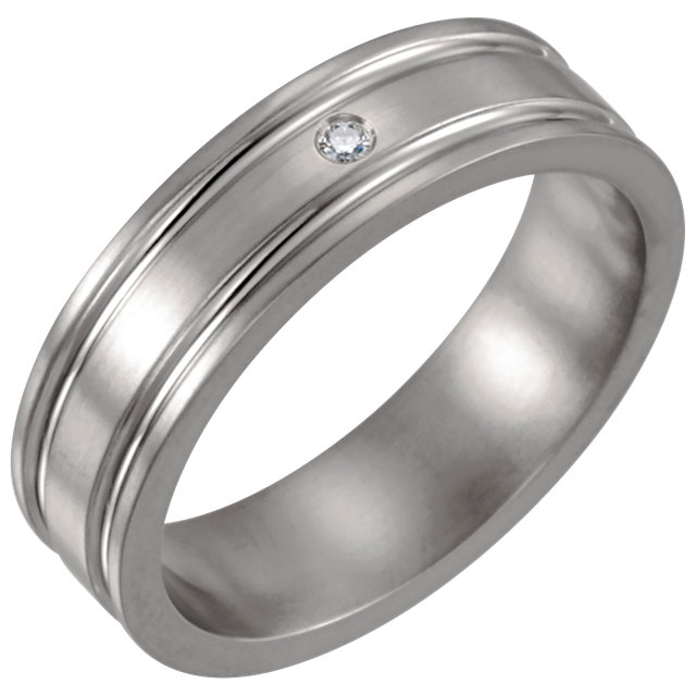 Titanium .025 CTW Diamond Grooved 6mm Band Size 8