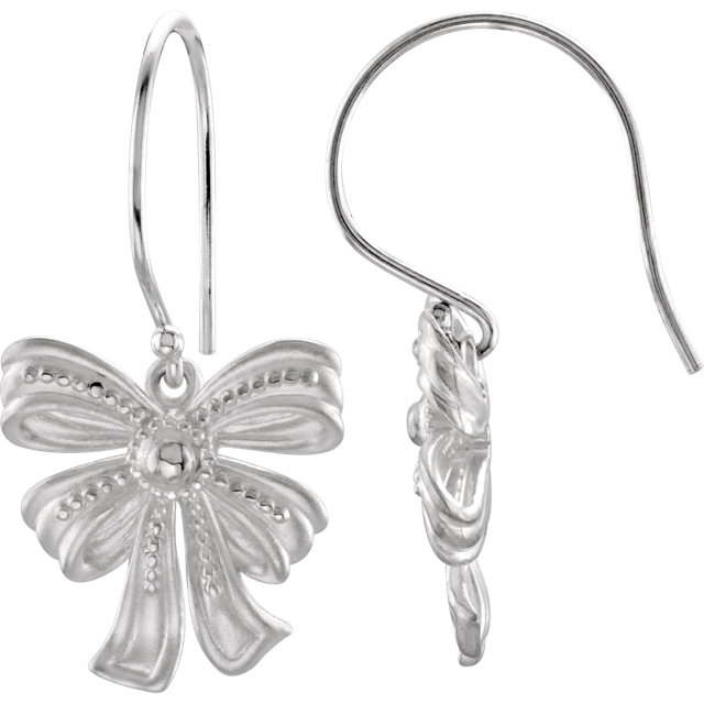 Sterling Silver Vintage-Style Bow Design Earring
