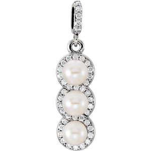 Platinum Freshwater<br> Aultured Pearl & 1/5 ATW<br> Diamond Pendant