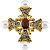 Cultured Pearl & Gemstone Cross Pendant