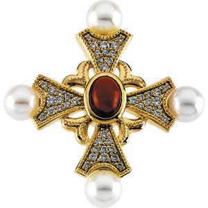 Cultured Pearl & Gemstone Cross Pendant